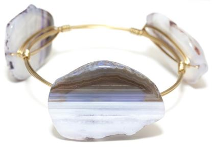 Picture of Rock Candy Bangles - Stripe Agate - Lt. Blue/Gray • Stability & Composure