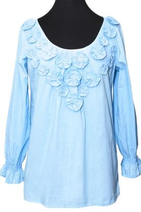 Picture of Floral Applique Blouse Tunic - Light Blue - Large