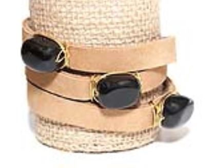 Picture of Rock Candy Leather Wrap Bracelet - Wide Light Brown Black Agate Cube