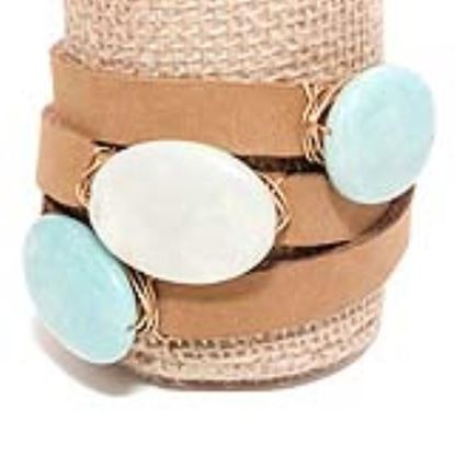 Picture of Rock Candy Leather Wrap Bracelet - Wide Light Brown Amazon Jade