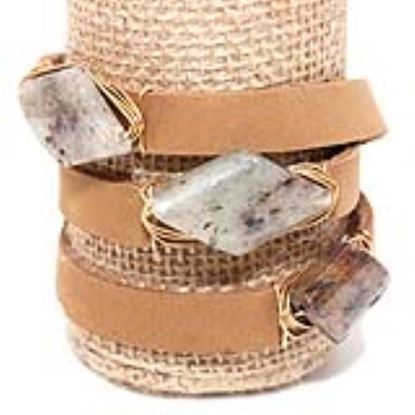 Picture of Rock Candy Leather Wrap Bracelet - Wide Light Brown Speckled Diamond-cut