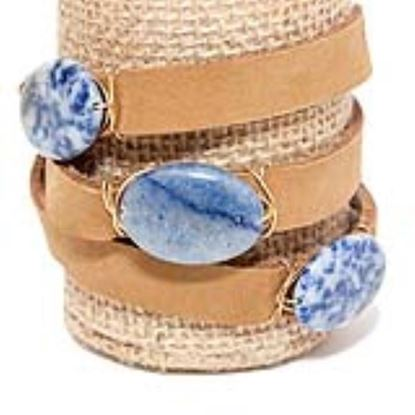 Picture of Rock Candy Leather Wrap Bracelet - Wide Light Brown Denim Blue Agate