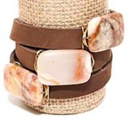 Picture of Rock Candy Leather Wrap Bracelet - Wide Dark Brown Marbled Rust