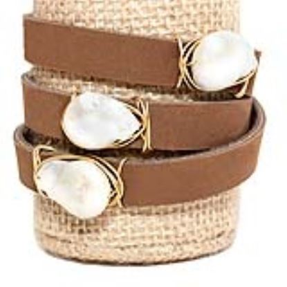 Picture of Rock Candy Leather Wrap Bracelet - Wide Dark Brown Natural 15mm Pearl
