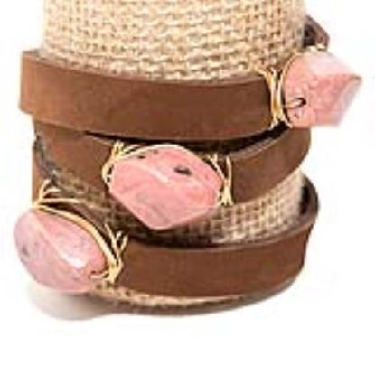 Picture of Rock Candy Leather Wrap Bracelet - Wide Dark Brown Desert Rose Quartz