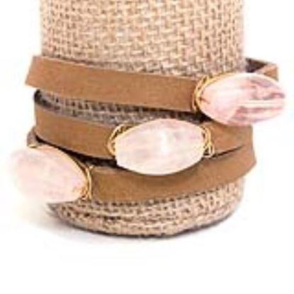 Picture of Rock Candy Leather Wrap Bracelet - Medium Light Brown Rose Quartz Baguette