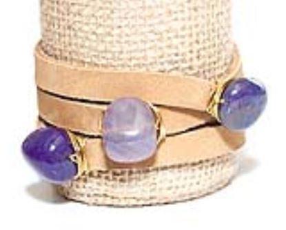 Picture of Rock Candy Leather Wrap Bracelet - Medium Light Brown Amethyst Quartz Cube