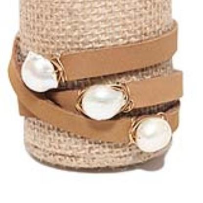 Picture of Rock Candy Leather Wrap Bracelet - Medium Light Brown Natural 12mm Pearl
