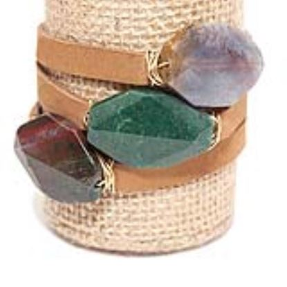 Picture of Rock Candy Leather Wrap Bracelet - Medium Light Brown Earthtones Multi