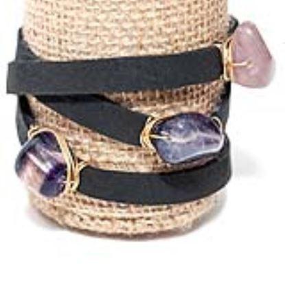 Picture of Rock Candy Leather Wrap Bracelet - Medium Black Cap Amethyst Baguette