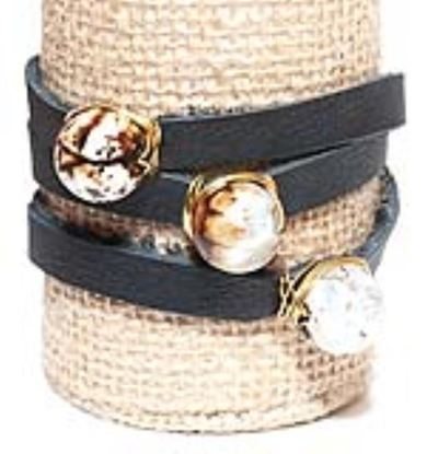 Picture of Rock Candy Leather Wrap Bracelet - Medium Black Speckled Agate Ball