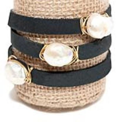 Picture of Rock Candy Leather Wrap Bracelet - Medium Black Natural 12mm Pearl