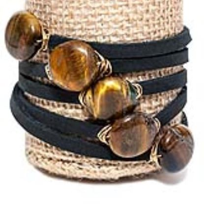 Picture of Rock Candy Leather Wrap Bracelet - Thin Black Tiger's Eye Circle