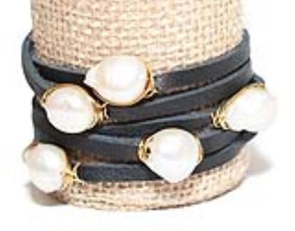 Picture of Rock Candy Leather Wrap Bracelet - Thin Black Natural 12mm Pearl