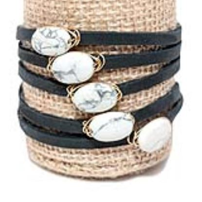 Picture of Rock Candy Leather Wrap Bracelet - Thin Black White Coral