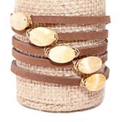 Picture of Rock Candy Leather Wrap Bracelet - Thin Dark Brown Yellow Jade Disc