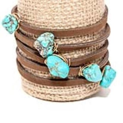 Picture of Rock Candy Leather Wrap Bracelet - Thin Dark Brown Powdered Turquoise Stone