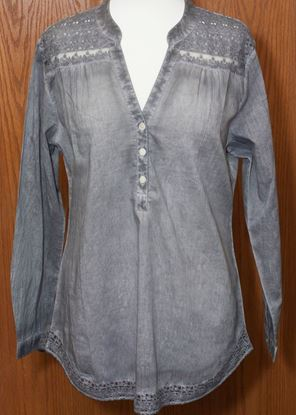 Picture of Cotton Henley Tunic 6-pc Size Run - Faded Gray