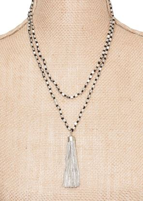 Picture of Long Metallic Tassel Necklace - Silver