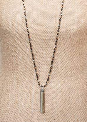 Picture of Long Metallic Tassel Necklace - Tri-Tone