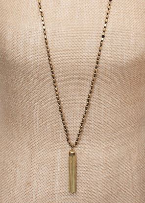 Picture of Long Metallic Tassel Necklace - Gold