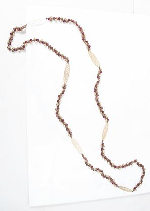 Picture of Long Beaded Leaf Necklace - Plum/Olive