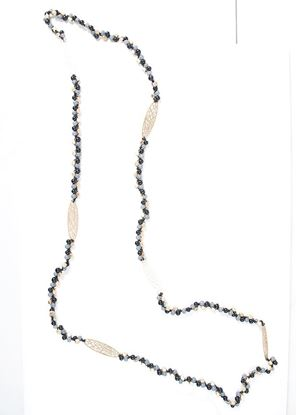Picture of Long Beaded Leaf Necklace - Black/Gray