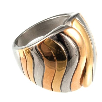 Picture of Chic Elements - Ripple Tri-Color  Ring   Size 8