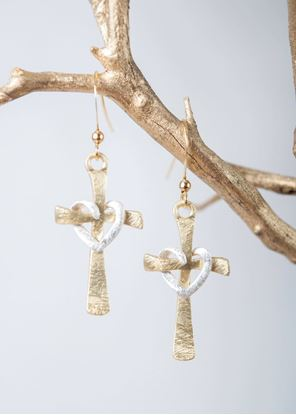 Picture of Crafted Metals Earrings - Gold Cross Heart