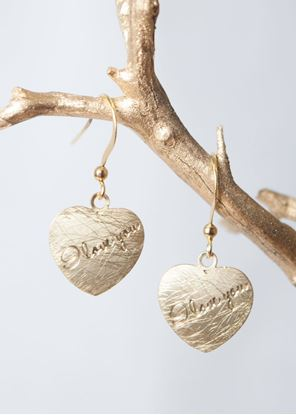 Picture of Crafted Metals Earrings - Gold I Love You Heart