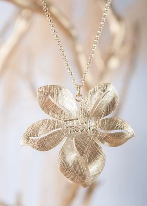 Picture of Crafted Metals Necklace - Gold Faith Flower
