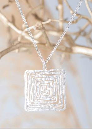 Picture of Silver Crafted Metal Necklace - Square Maze