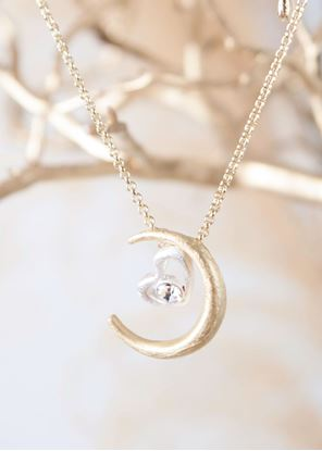 Picture of Gold Crafted Metal Necklace - Moon & Heart
