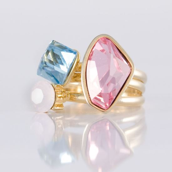 Picture of Aquamarine and Light Rose, Size 8, Gold Plated Stackable Trio Rings