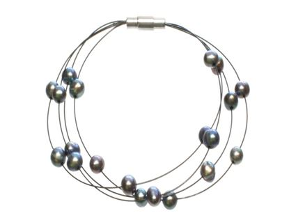 Picture of Amanda Blu Illusion Pearl Bracelet on Black Wire - Peacock Black