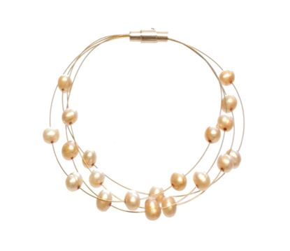 Picture of Amanda Blu Illusion Pearl Bracelet on Gold Wire - Goldenrod
