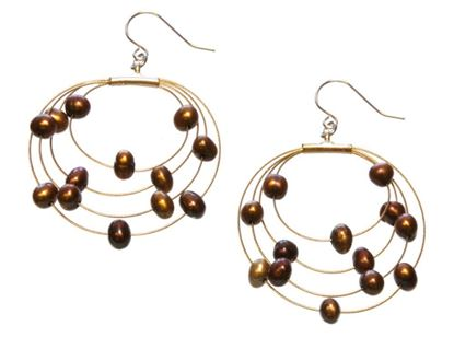 Picture of Amanda Blu Illusion Pearl Earrings on Gold Wire - Espresso