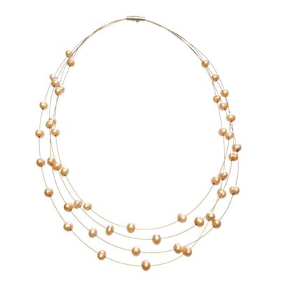 Picture of Amanda Blu Illusion Pearl Necklace on Gold Wire - Goldenrod
