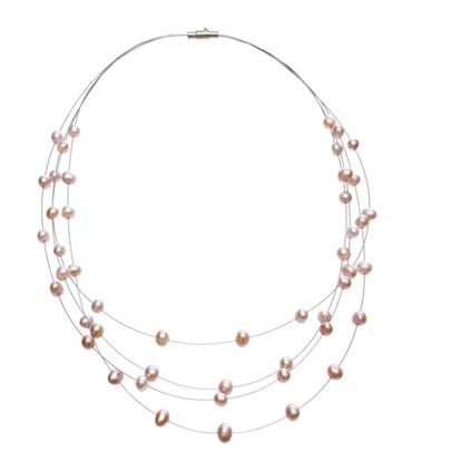 Picture of Amanda Blu Illusion Pearl Necklace on Silver Wire - Natural Lavender