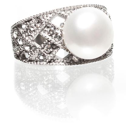 Picture of Size 6 Natural White Pearl-Weave Pearl Ring With Diamond Crystals