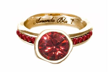 Picture of Size 8 Padparadscha Cache Antique Gold Ring