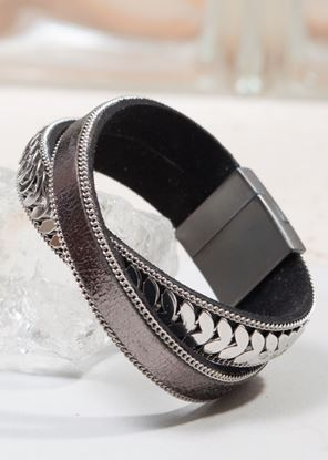 Picture of Leather Cuff Bracelet - Gunmetal