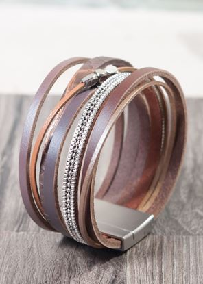 Picture of Leather Cuff Bracelet - Coffee