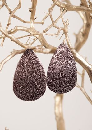 Picture of Leather Teardrop Earring - Bronze