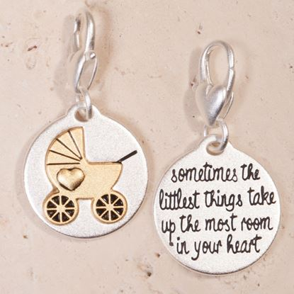 Picture of Silver 2-Tone Medallion - Baby Carriage