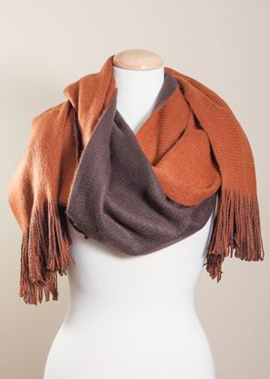 Picture of Two-Tone Fringe Scarf Wrap - Spiced Latte