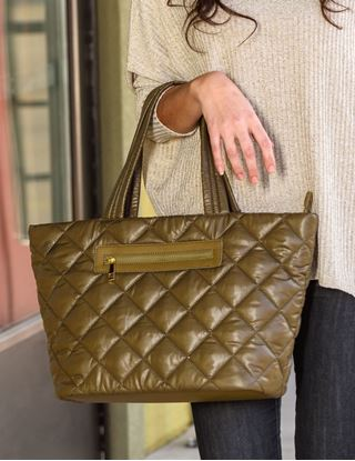 Picture of Signature Blu Handbag - Alivia Quilted Tote - Olive Drab