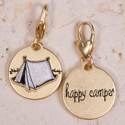 Picture of Gold 2-Tone Medallion - Tent, Happy Camper