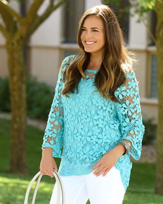 Picture of Daisy Crochet Tunic with Cami - Aqua