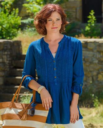 Picture of Pleat Front Tunic - Indigo